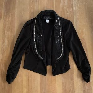 The Buckle / Black Sequin Cropped Blazer